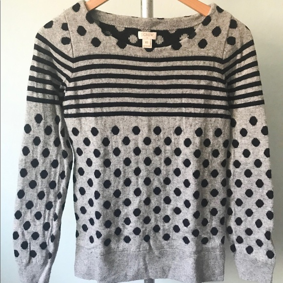 J Crew Factory Striped and Polka Dot Sweater